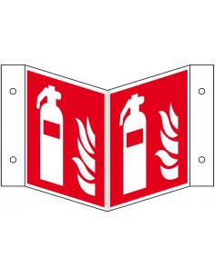 Panorama brandblusser bord, aluminium, 200 x 200 mm, F001, rood wit, pictogram brandblusser, vierkant