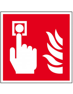 Brandmelder sticker, ISO 7010, F005, rood wit, pictogram brandmelder, vierkant