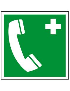 Noodtelefoon sticker, ISO 7010, E004, groen wit, symbool noodtelefoon, vierkant