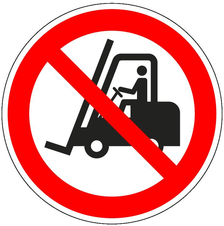 pictogram verboden voor heftrucks, rood wit, rond, ISO 7010, P006