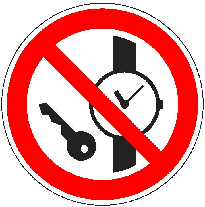 pictogram verboden voor kleine metalen voorwerpen, rood wit, rond, ISO 7010, P008