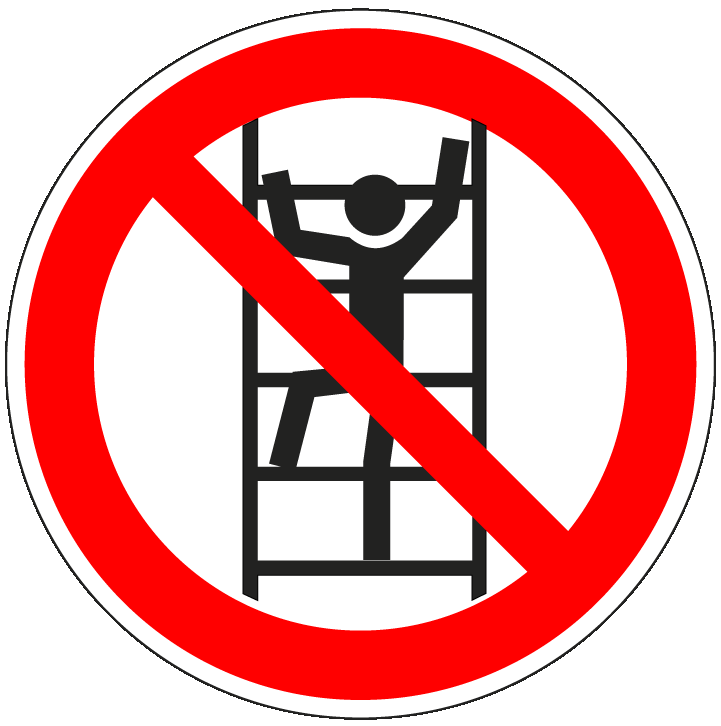 pictogram verboden te klimmen, rood wit, rond, ISO 7010, P009