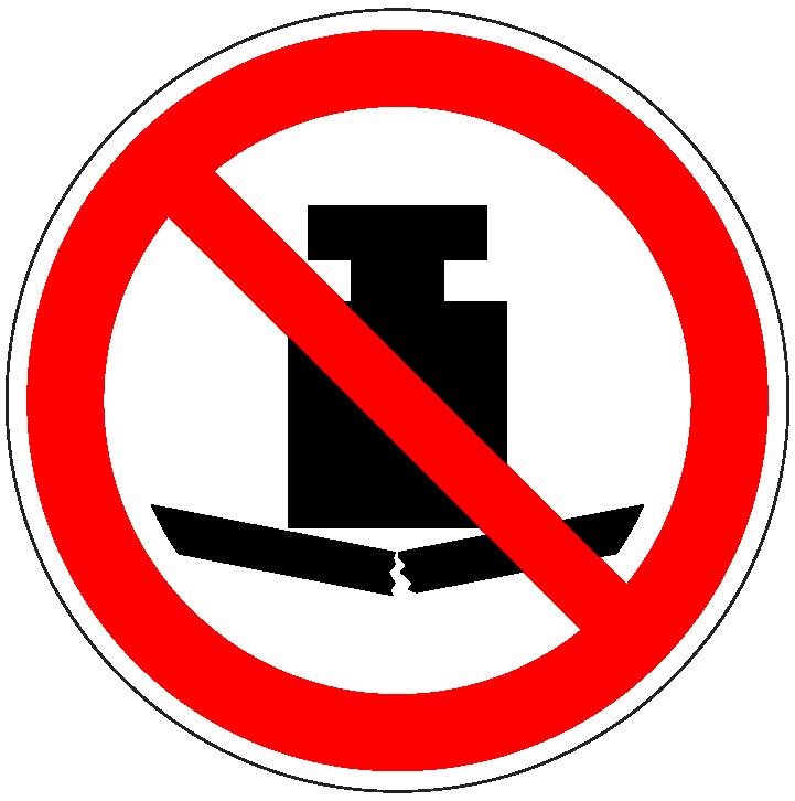 pictogram verboden zware last plaatsen, rood wit, rond, ISO 7010, P012
