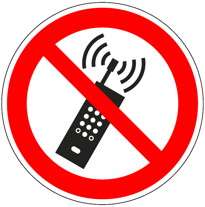 pictogram verboden te bellen, rood wit, rond, ISO 7010, P013