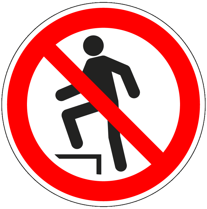 pictogram opstappen verboden, rood wit, rond, ISO 7010, P019
