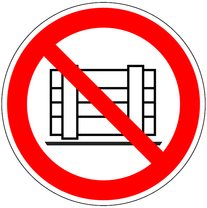pictogram verboden neerzetten, rood wit, rond, ISO 7010, P023
